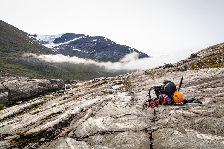 Jostedalsbreen Norway Rope Activity Adventure Backpack Beauty In Nature Climbing Climbing Equipment Day Equipment Formation Glacier Helmet Hiking Leisure Activity Lifestyles Men Mountain Mountain Range Nature Outdoors People Real People Rock Rock - Object Scenics - Nature Sky Solid Sport The Great Outdoors - 2018 EyeEm Awards