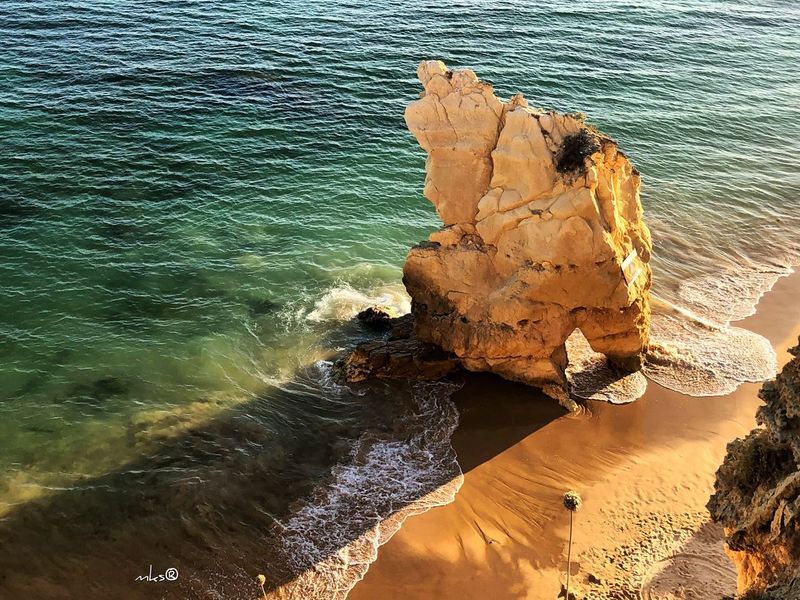 Algarve Sunset Travel Destinations Sunset Sun Algarve EyeEm Best Shots Landscape Bestoftheday Photography Water Sea Beach Land Nature High Angle View Beauty In Nature Rock Sunlight Tranquility No People