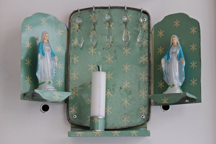 Virgin Mary Figurines With Candle On Stand Mounted To Wall