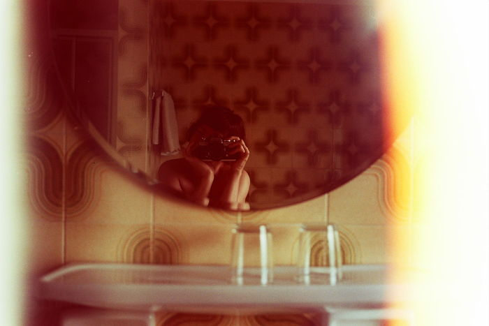 Seventies Camera in Seventies Bathroom Analogue Photography Close-up Cropped Curves Day Echoes Experiment Film Film Photography Fine Art Photography Focus On Foreground Glass Graphics Harmony Indulgence Light Leak Patterns Retro Scale  Selective Focus Selfie Seventies Shoulders Temptation Tiles