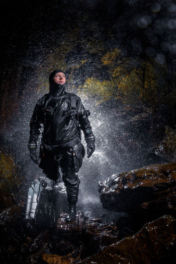 Exploring flooded caves - Borinka Karst Amazing Cave Caver Cavern Dive Diver Drysuit Espeleología Explore Exploring Karst Nature One Person Outdoors Scuba Tanks Scubadiving Sidemount Sidemountdiving Underground Water Woman