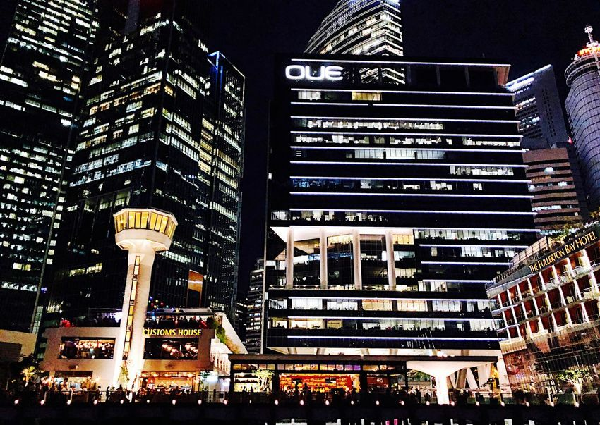 Singapore Building Exterior Architecture Built Structure City Illuminated Building Night Street Office Building Exterior Low Angle View Tree No People Tall - High Skyscraper Outdoors Modern City Life Cityscape Nature Light
