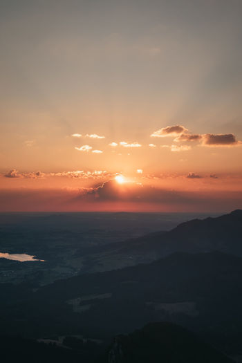 Scenic view of allgäu against sky during sunrise