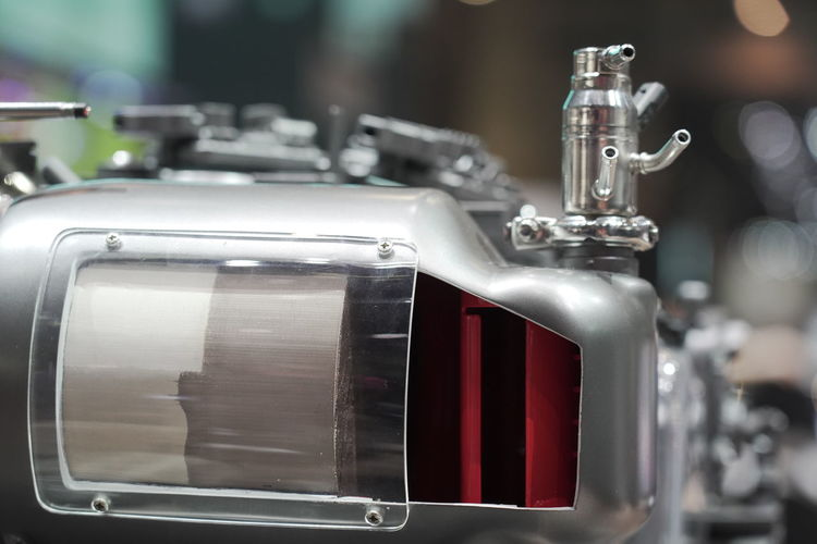 Close-up of machine part. motor part at autosalon geneva 2019