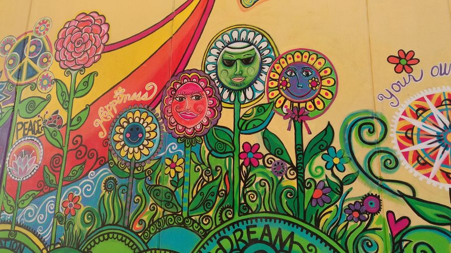 """Flower Power"" Multi Colored Outdoors Drawing - Art Product Wallmurals Illustration Creativemind Iloveit Backgrounds Art And Craft Lifeinthemiddleeast Bahrainlife WeekOnEyeEm The Street Photographer - 2018 EyeEm Awards"