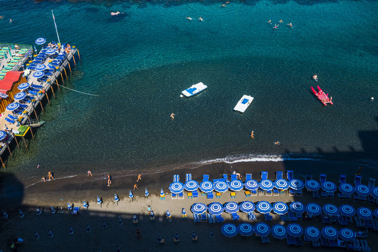 Aerial view of parasols on beach