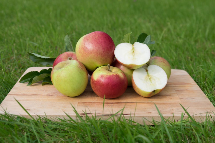 Whole and cut apples presented on a wooden board outside Seasonal Food Apple Apple - Fruit Close-up Cut Apple Day Field Food Food And Drink Food Presentation Freshness Fruit Grass Green Color Healthy Eating Nature No People Outdoors Seasonal Friut Wooden Board