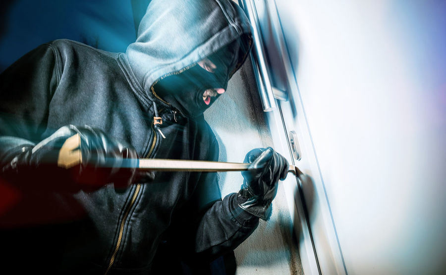Alarm Breaking Burglar Burglary Crime Criminal Crowbar Intruder  Man Mask Open Robber Theft Thief Thug Window