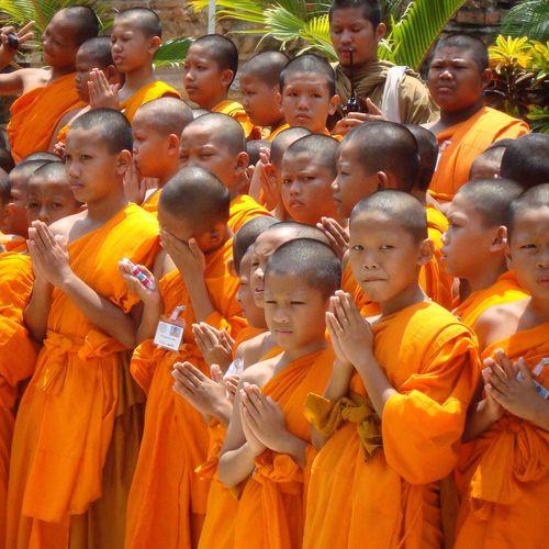 Buddhism Religious  Temple Ayutthaya Thailand Oldcity Buddist Temple Buddhist Monks Youngboys Orange Color Bright Colors Praying Meditation Showcase July