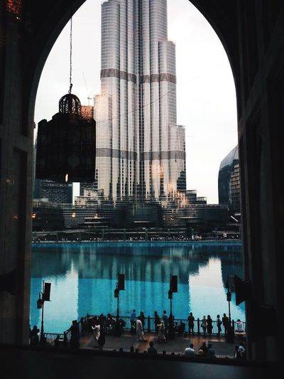 Architecture Reflection Built Structure City Building Exterior Travel Destinations Skyscraper Day Real People Water Outdoors Sky People Dubai UAE
