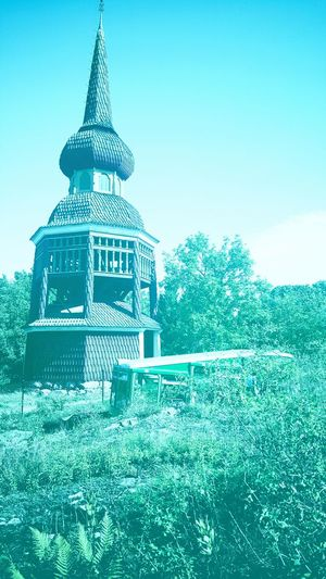 Tree Blue Sky Outdoors Scenics Tranquility Place Of Worship Spire  Tranquil Scene No People History Exterior Stockholm Sweden Skansen Outdoor Museum