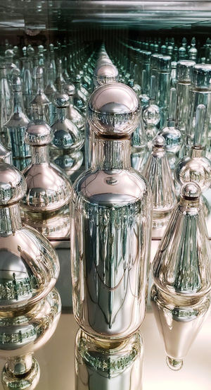 Still Life StillLifePhotography Illusion vanishing point Closeup Reflection Reflections Glass - Material Metal Chrome Fine Art Variation Antique Shiny Close-up Display Collection Various