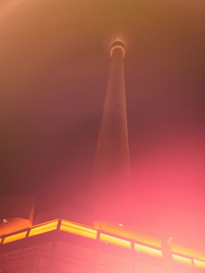 Arising from the fire... Berlin Psychadelic TV Tower Architecture Built Structure Germany Illuminated Low Angle View Night No People Outdoors Sky Sunset Travel Destinations