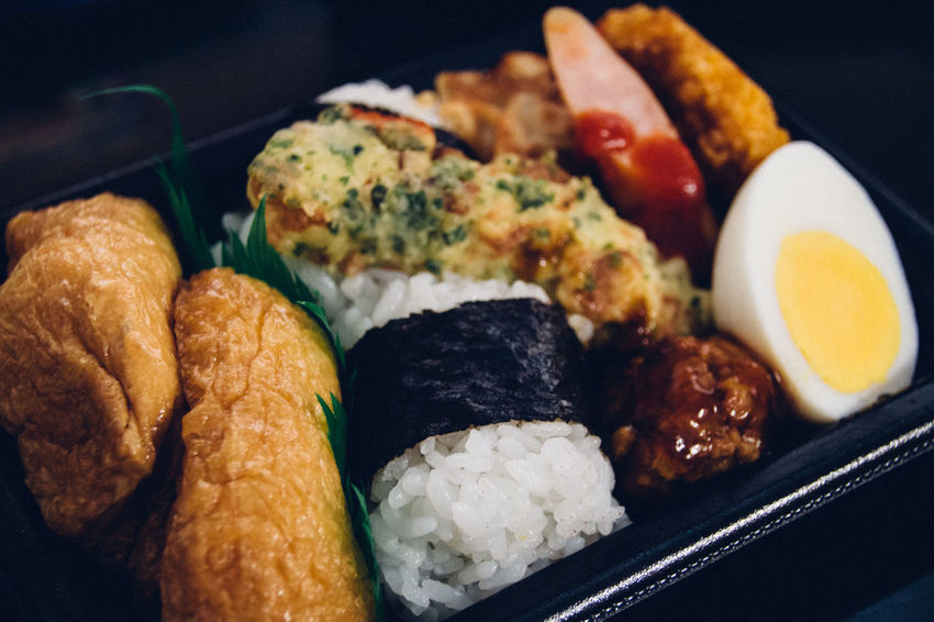 Bento Bento Box Boiled Eggs Choice Close-up Composition Food Food And Drink Freshness Fried Indoors  Japanese Food Meal Onigiri PLASTIC CONTAINER Plate Ready-to-eat Rice Rice Ball Still Life Table Variation
