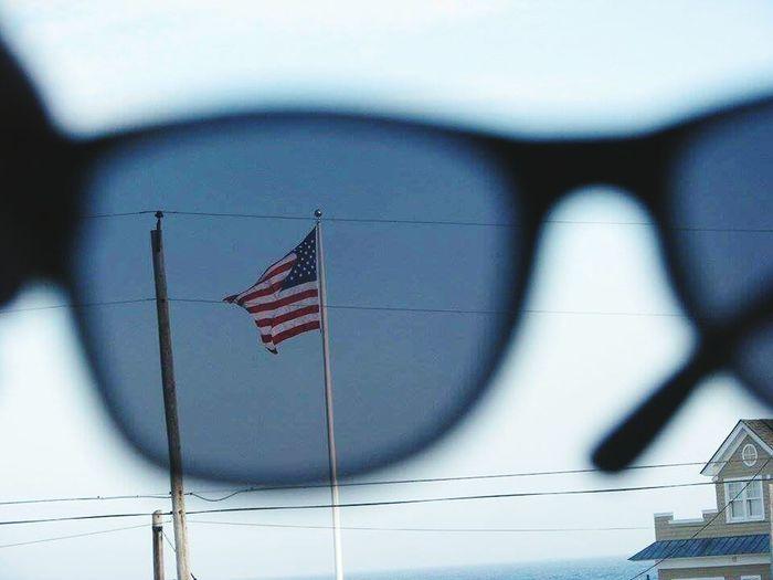 American Flag Glasses :) Flag 🚩 Glasses Sunrise Glassreflection