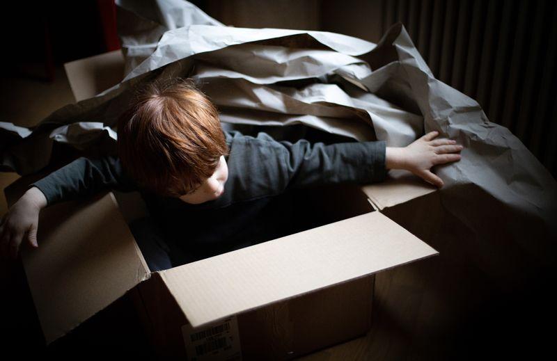 Cute boy sitting in cardboard box