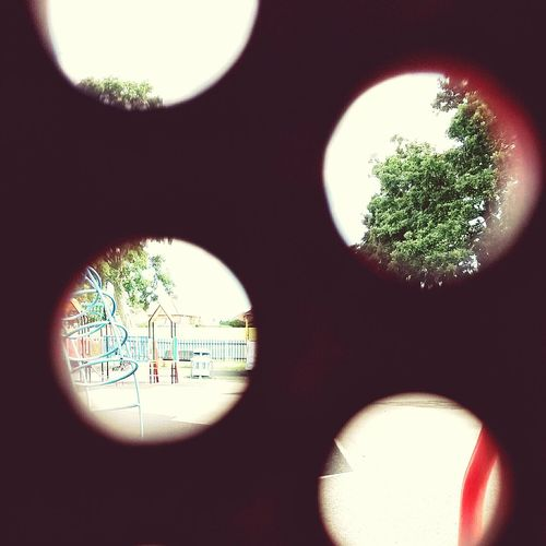 Peeking through the stairs in a playground👀 Stairs Lookingthroughstairs Playground At The Playground In The Park Two Views Trees In The Distance