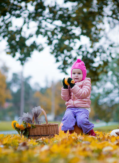 Little girl playing in autumn leaves Autumn Colors Autumn Leaves Beautiful Children Children Happy People Backgrounds Beautiful Kids Child Childhood Day Girl Girls Nature One Person Outdoors People Real People Scarecrow Toddler  Tree Vertical Warm Clothing Mix Yourself A Good Time