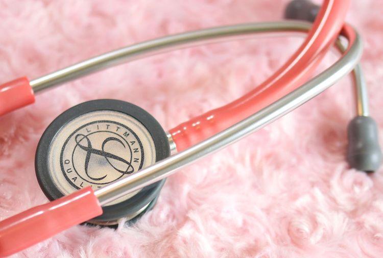 Close-up of stethoscope on rug