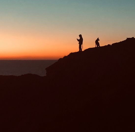 Dog Silhouette Sky Sunset Real People Two People Copy Space Beauty In Nature Men People Lifestyles Scenics - Nature Tranquility Leisure Activity Land Nature Tranquil Scene Togetherness Standing Orange Color