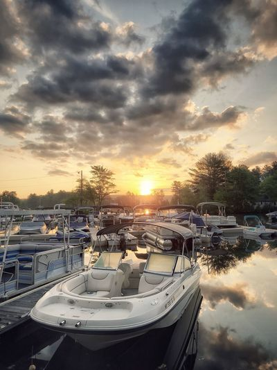 Sunrise View on the Boat Docks Sky Cloud - Sky Sunset Nautical Vessel Water Transportation Mode Of Transportation Nature No People Harbor Beauty In Nature Travel Tree Outdoors Tranquility Yacht Scenics - Nature Tourism