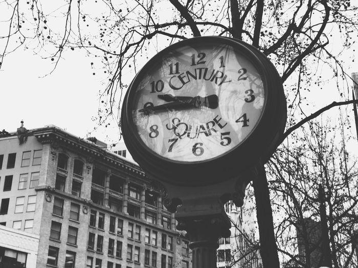 Seattle Seattle, Washington Clock Blackandwhite Downtown District