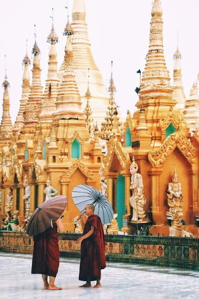 Monk  Yagon Pagoda Buddhism Religion Belief Architecture Place Of Worship Spirituality Built Structure Building Exterior