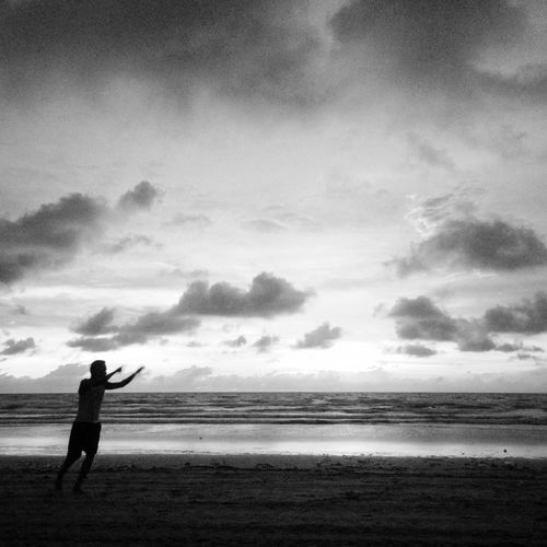 IPhoneography Blackandwhite Monochrome Clouds And Sky Sea Travel Beach Silhouette Bali