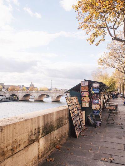 River Outdoors Built Structure No People Bookstore Books Paris Autumn Autumn Colors Autumn Leaves