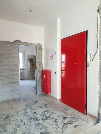 Red Indoors  Home Interior Home Renovation  Rebuilding Architecture Home Improvement Home Addition DIY No People Work Area Building Structures Interior Design Wall Construction Red Door
