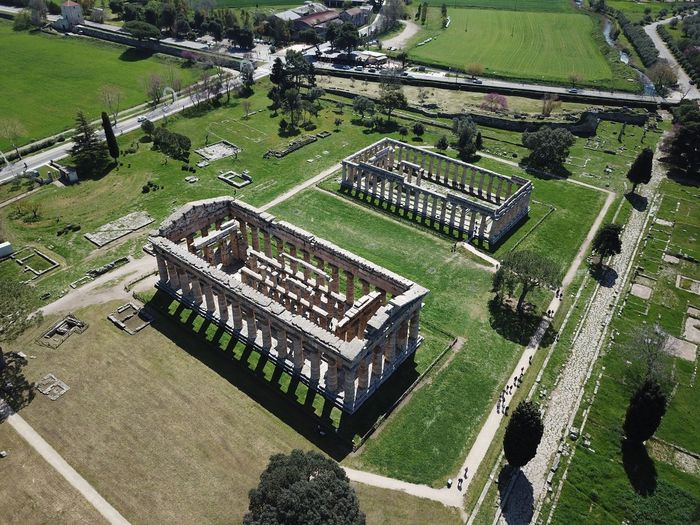 Paestum Temples Ancient Architecture Aerial View High Angle View Green Color Plant Day Nature Aerial View Sport Landscape