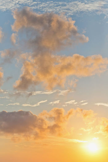 Sunset sky background Cloud - Sky Sky Scenics - Nature Beauty In Nature Tranquility Sunset Tranquil Scene Nature Orange Color No People Idyllic Low Angle View Outdoors Backgrounds Sunlight Dramatic Sky Blue Full Frame Day Environment Meteorology
