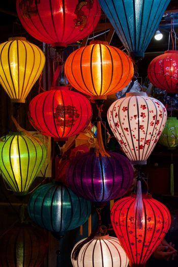 Beautiful Lighting Beautiful Lighting And Decoration Hoi An Viet Nam Colored Lanterns Hanging Lamps Lantern Night