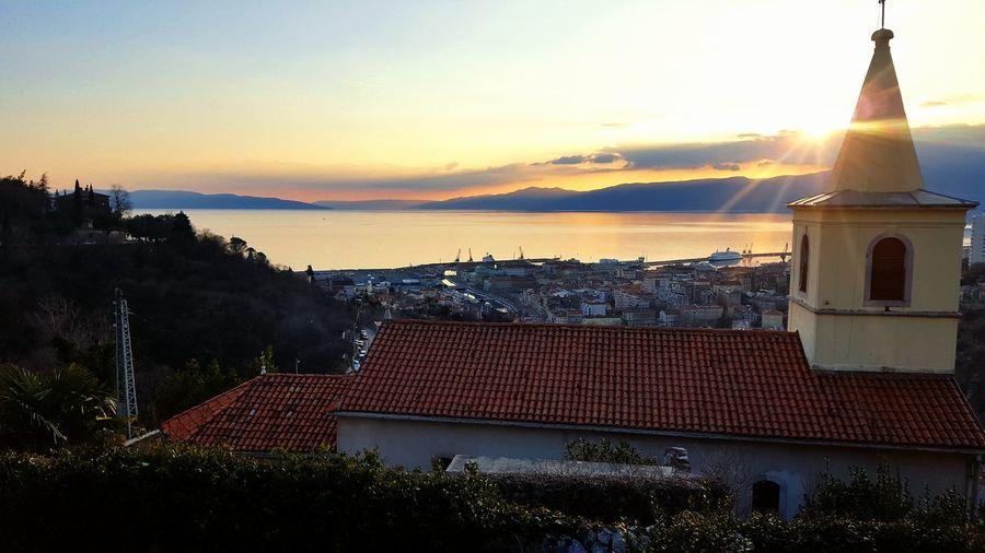Sunset Architecture History Sky Outdoors Day Cityscape City Beauty In Nature Rijeka City Rijeka, Croatia Rijeka Trsat Curch