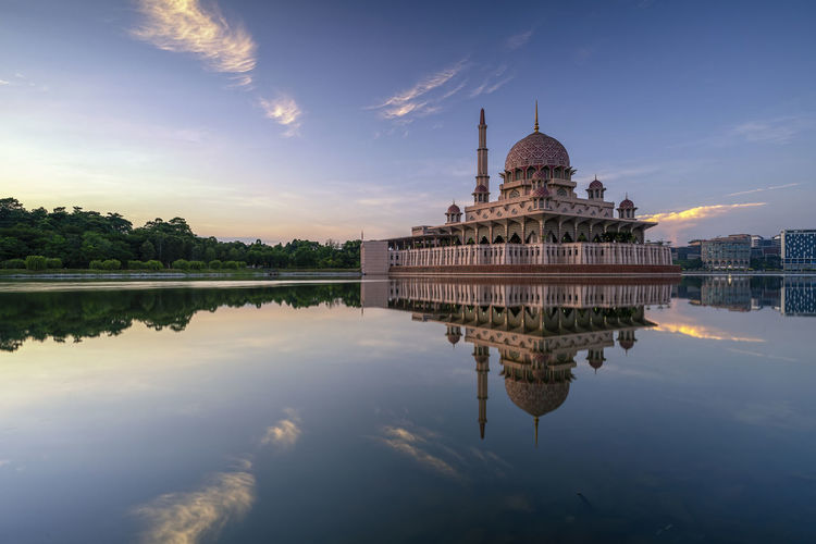 Reflection of temple in lake
