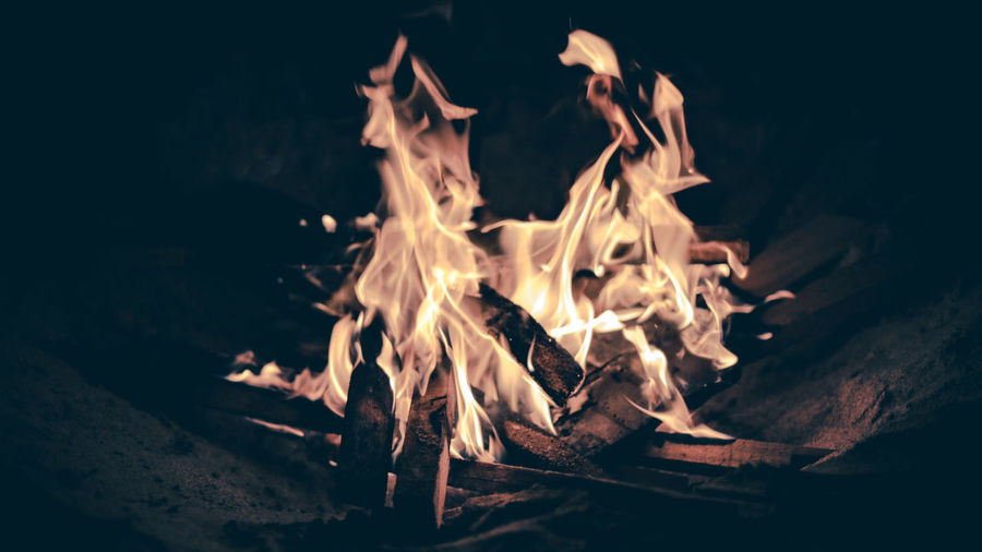 EyeEm Selects Flame Burning Heat - Temperature Campfire No People Close-up Bonfire Motion Night Outdoors