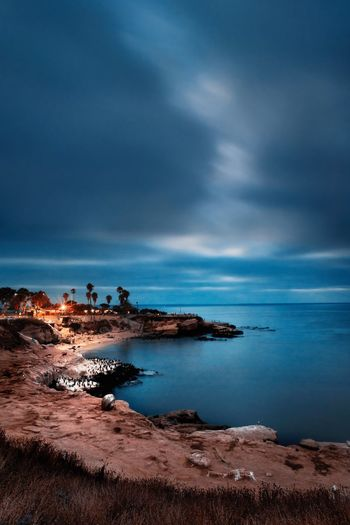 Twilight Tales Nature Landscape Photography Bluehour Cove Seascape Beach La Jolla Twilight Blue Water Sky Sea Beach Cloud - Sky Beauty In Nature Scenics - Nature Tranquility Land Tranquil Scene Nature Night Non-urban Scene Horizon Over Water No People Horizon Outdoors Rock