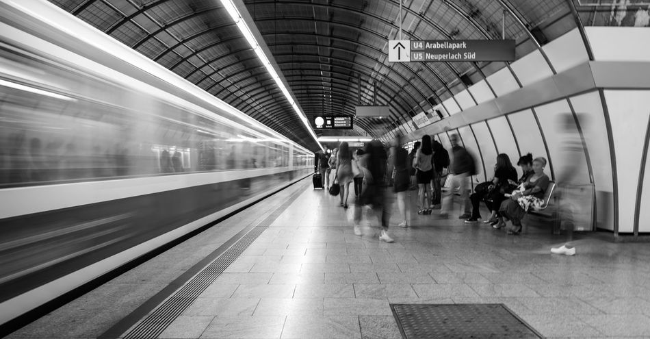 B&w Blurred Motion Casual Clothing City Life Indoors  Journey Large Group Of People Battle Of The Cities Mode Of Transport Motion Passenger Public Transportation Railroad Station Speed Subway Station Traffic Train Train - Vehicle Transportation Travel U-Bahnhof Ubahnhof Underground Underground Station  Zug Mobility In Mega Cities