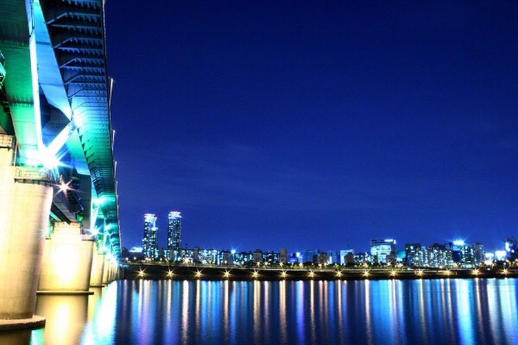 Illuminated Night Architecture Built Structure Building Exterior Reflection Modern Skyscraper No People City Blue Outdoors Travel Destinations Waterfront Water Sky Clear Sky Urban Skyline Cityscape Nature I Want To Know Your Secret, C I Always Thinking About U, G Thank You,❤️ 감사합니다