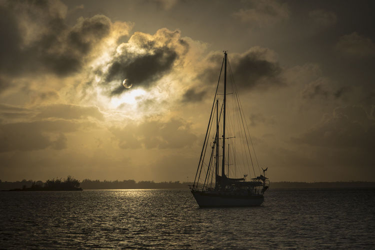 Bahamas Beauty In Nature Boat Cloud - Sky Idyllic Marsh Harbor Mast Mode Of Transport Nature Nautical Vessel No People Outdoors Sailboat Sailing Scenics Sea Sky Sun Sunrise Sunset Tranquil Scene Tranquility Transportation Water