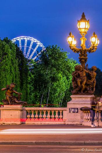 Alexandre III Blue Hour Grande Roue Paris Paris, France  Pont Alexandre III Long Exposure Longexposure Street