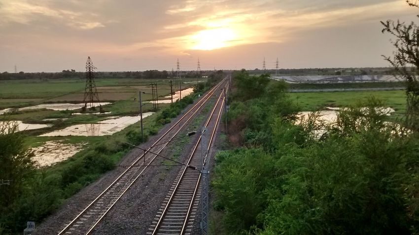 Day Landscape No People Outdoors Railroad Track Sky Sun Sunset