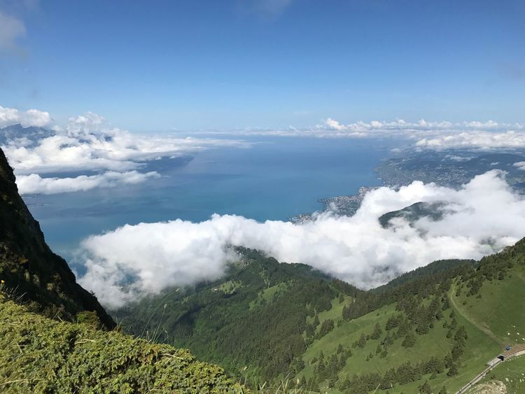 Scenics Mountain Lake Geneva Montreux Beauty In Nature View View From Above Cloud - Sky Clouds White Clouds Nature Landscape Day Water Panoramic Top Of The Mountains Alps Green Color