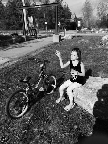 Childhood Transportation Land Vehicle Mode Of Transport Full Length Elementary Age Lifestyles Leisure Activity Casual Clothing Bicycle Day Outdoors Bike Trail Lancaster Ny Black And White Transportation Daughter Pit Stop Biking Making Wishes Fresh On Eyeem  My Favorite Place 100 Days Of Summer Sommergefühle EyeEm Selects Sommergefühle