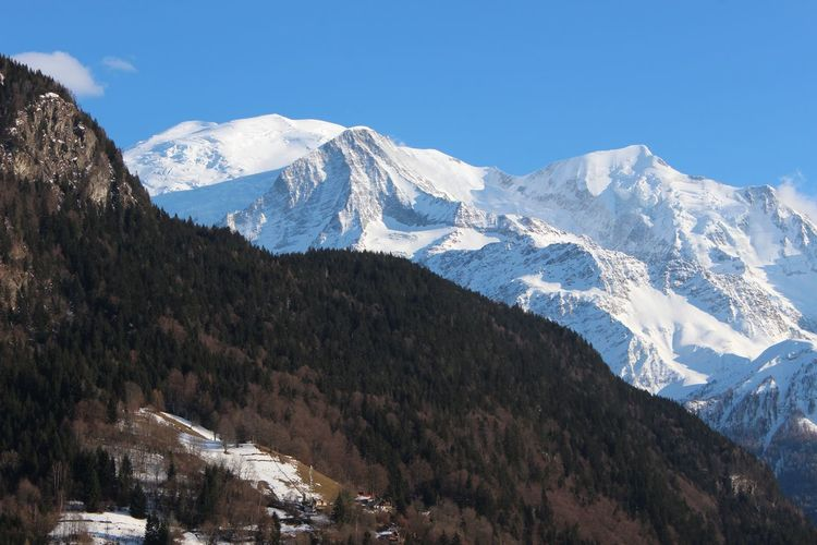 Chamonix-Mont-Blanc France Servoz Mont Blanc Snow Skiing Hiking Adventure Tourism Blue Sky