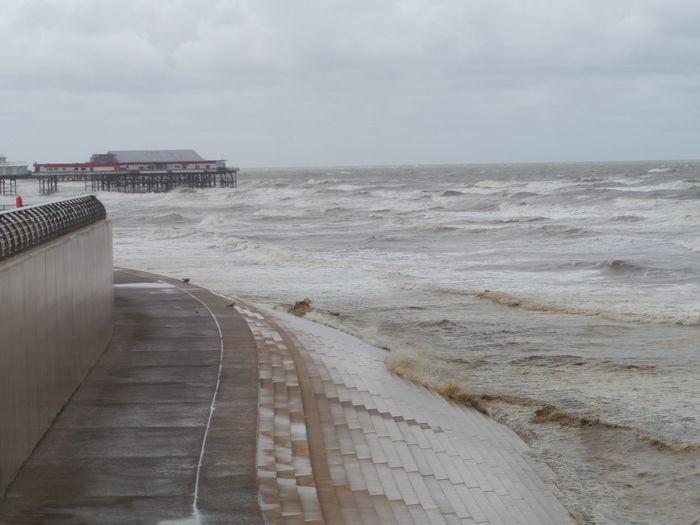 Beach Built Structure Cloud - Sky Day No People Outdoors Pier... Again Rough Sea. Sea Seascape. Sky Water
