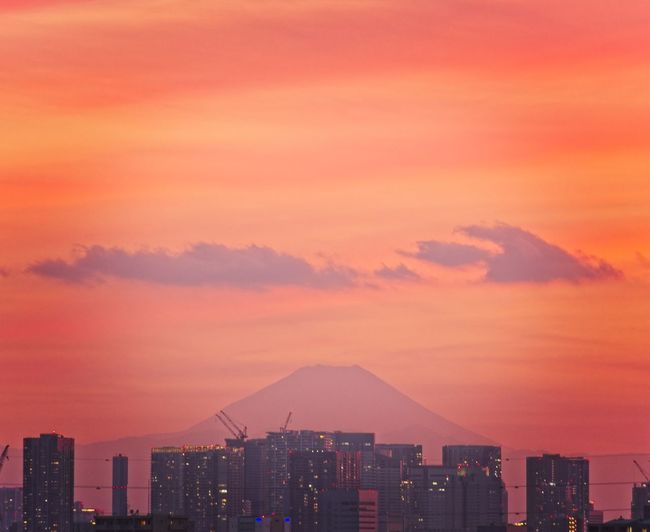 Mount Fuji from Tokyo during sunset Red Tokyo Mount FuJi Sunset City Cityscape Urban Skyline Modern Illuminated Skyscraper Sunset Nightlife Downtown District City Life