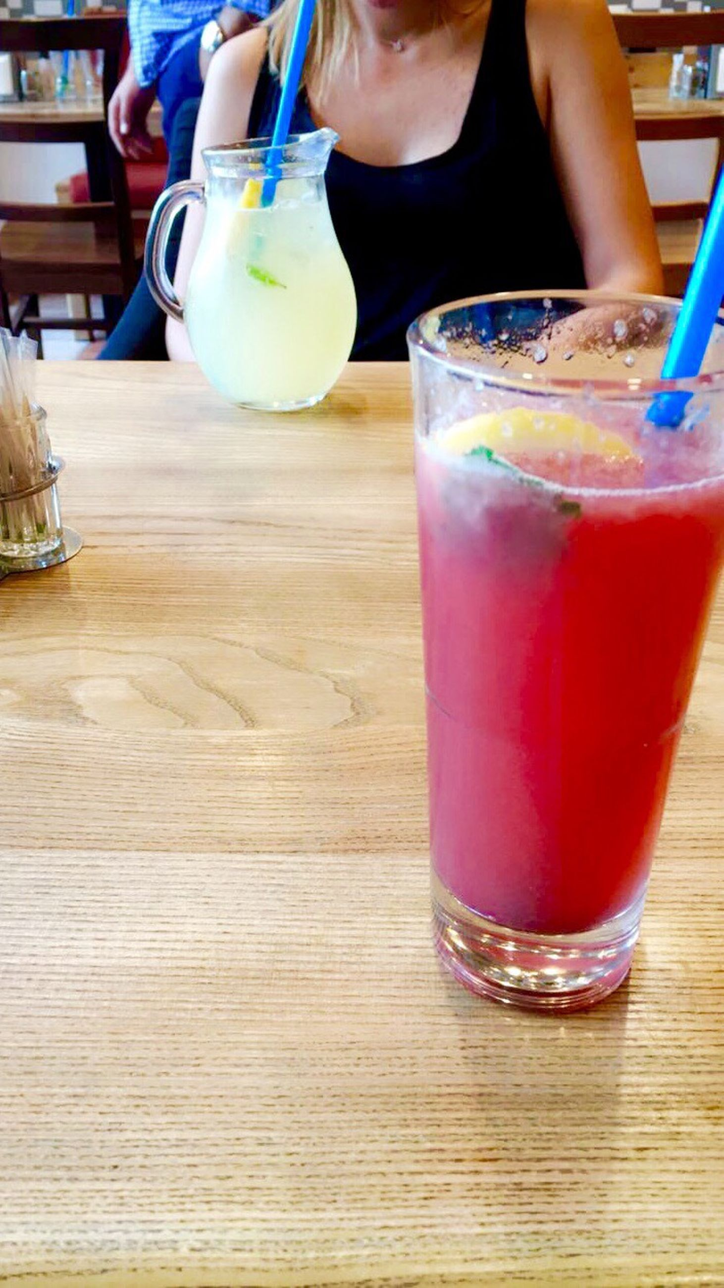 food and drink, refreshment, drink, freshness, table, drinking glass, indoors, drinking straw, cold temperature, healthy eating, pink color, serving size, non-alcoholic beverage