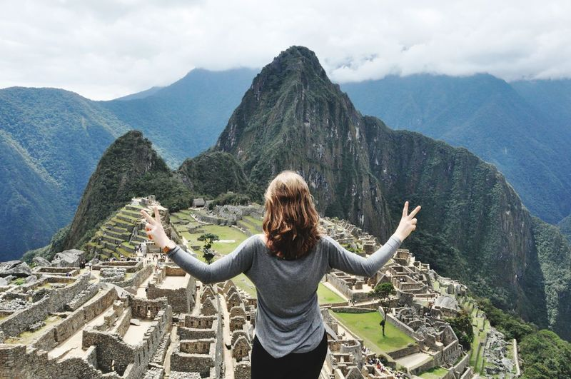 Machu Picchu Mountain Young Women Women Admiration Portrait Blond Hair Tree Human Arm Arms Outstretched Arms Raised