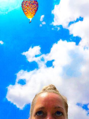 Cloud - Sky Sky Low Angle View Day Mid-air Blue Outdoors One Person Flying People Hot Air Balloon Summer Summertime Photoshop Illusion